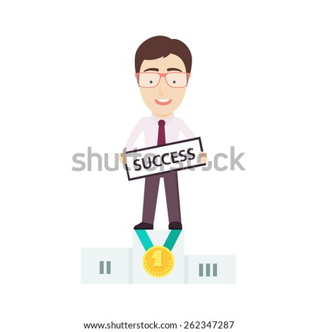 Businessman Standing on First Place of the Winnerâ??s Podium. Conceptual Vector Flat Illustration Depicting Someoneâ??s Business Success. - stock vector