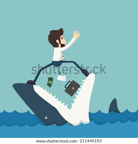 Businessman standing on Jaws of shark , eps10 vector format - stock vector