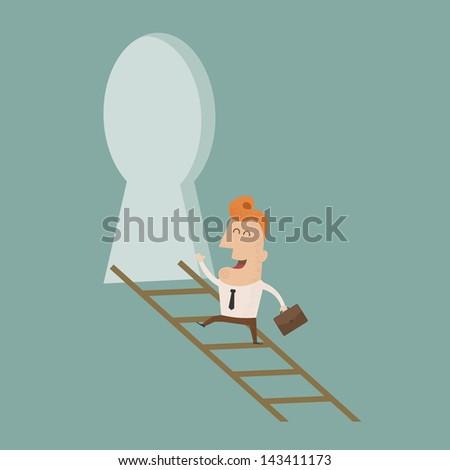 Businessman standing on ladder holding key   , eps10 vector format - stock vector