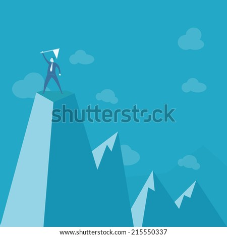 businessman standing on peak mountain  - stock vector