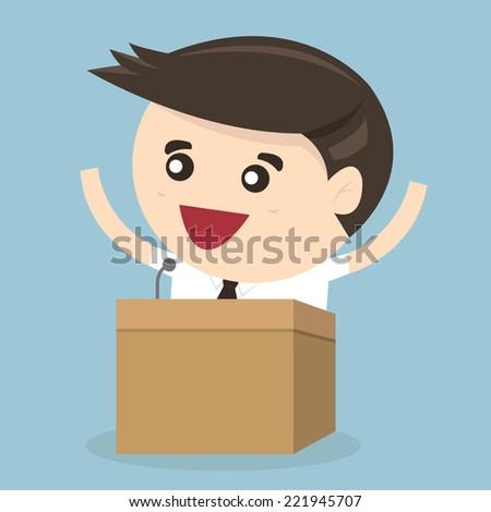 Businessman standing on podium and giving a speech, flat design - stock vector