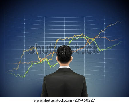 businessman stands in front of forex chart over blue background - stock vector