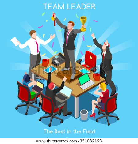 Businessman Startup Teamwork Team Leader Office Meeting Room. Interacting Isometric Realistic People. 3D Flat Vector Set. Setting New Goals Object JPG JPEG EPS 10 AI Image Drawing Picture. - stock vector