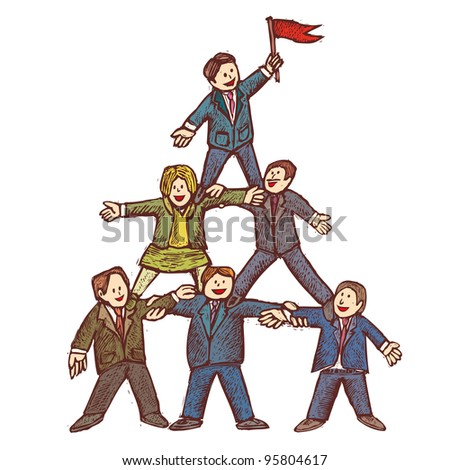 Businessman stay together as a team in a pyramid shape - stock vector