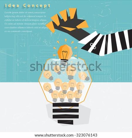 Businessman Stealing Idea from tube idea. - stock vector