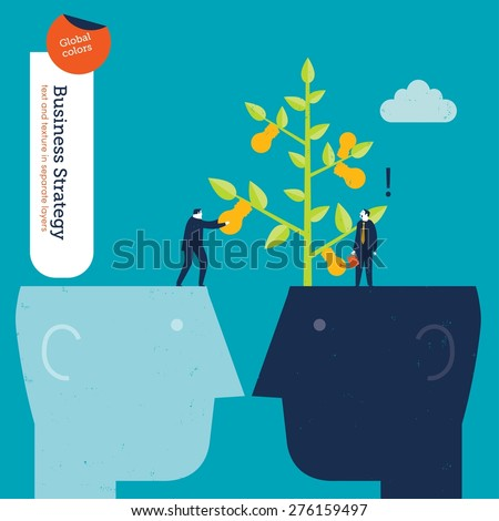 Businessman stealing ideas to another one. Vector illustration Eps10 file. Global colors. Text and Texture in separate layers. - stock vector