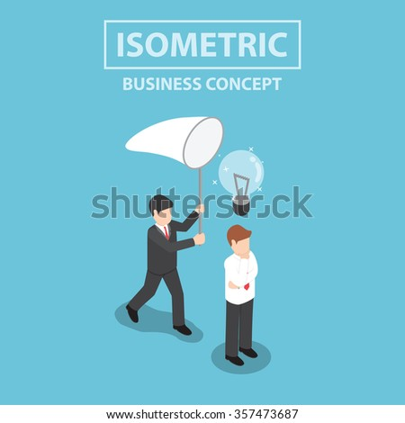 Businessman stealing light bulb of idea, Flat 3d web isometric design, VECTOR, EPS10 - stock vector