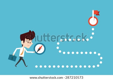 Businessman stepping onto compass - stock vector