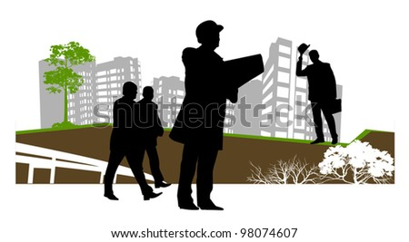 businessman stopped to check the contract - stock vector