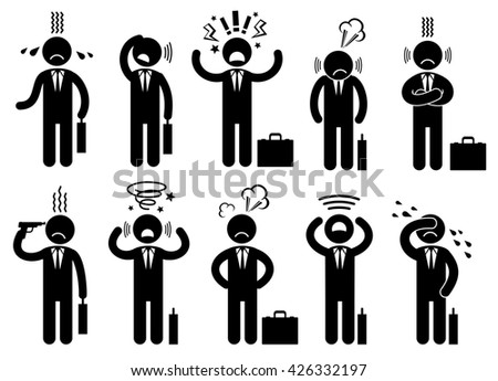 Businessman stress pressure, business mental issues, concept vector icons with pictogram people characters. Pressure mental and depression, business mental pressure illustration - stock vector