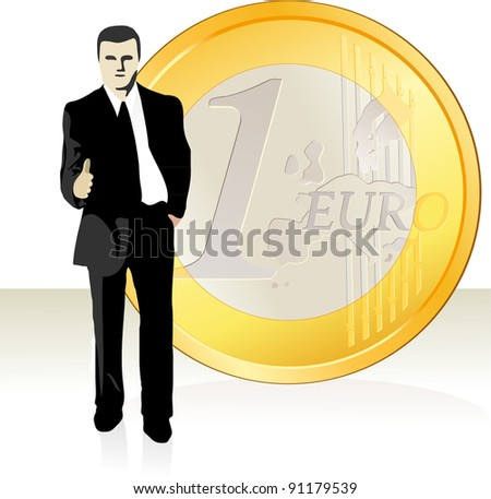 Businessman  stretching out his hand in front of the Euro coin - stock vector