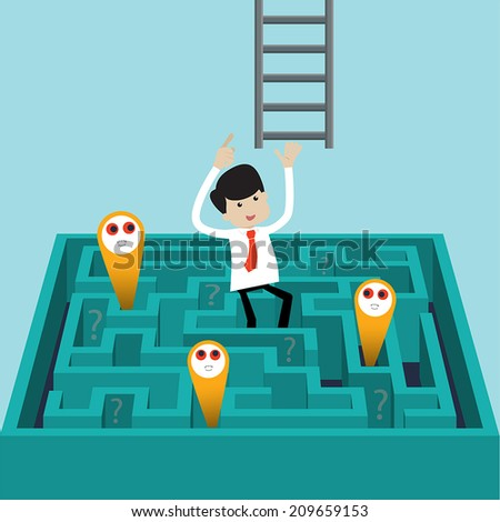 Businessman success to finds another way to exit over labyrinth.   Flat style vector for success, challenge, exit or escape from problems  - stock vector
