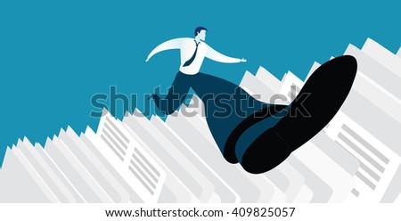 Businessman successful in overcoming paperwork challenge - stock vector