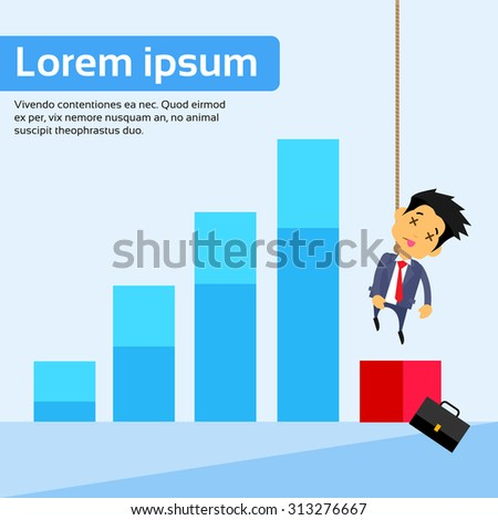 Businessman Suicide Hanged Himself With Rope Neck Financial Bar Fall Down Concept Crisis Bankruptcy Negative Flat Vector Illustration - stock vector