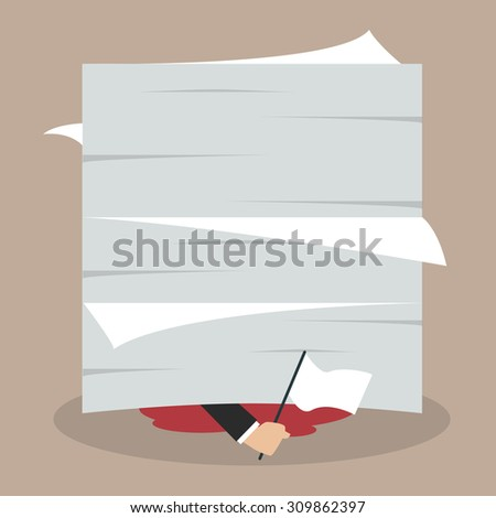 Businessman surrenders by waving a white flag under a pile of documents. Business concept - stock vector