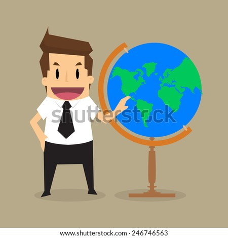 Businessman survey the world in his hands.vector - stock vector
