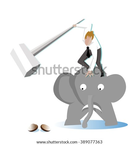 Businessman take a sledgehammer on elephant to crack (break) a walnut (Nut) (Business concept cartoon illustration) hard working people - stock vector