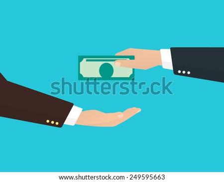Businessman takes a banknote from another businessman - stock vector