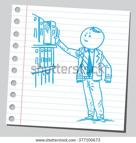 Businessman taking binder from shelf - stock vector