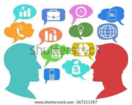 businessman talk speech bubbles icons - stock vector