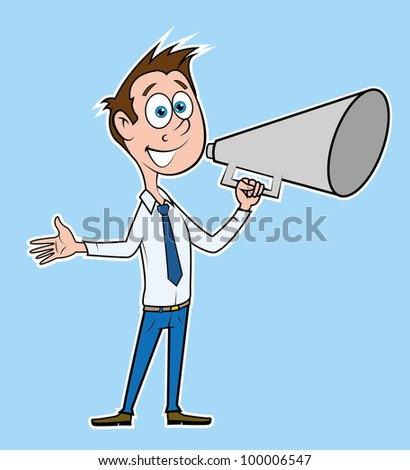 Businessman talk with megaphone. - stock vector