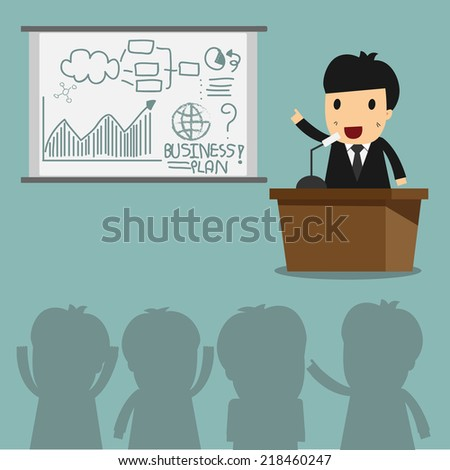 Businessman talking and explaining Business Planning - stock vector