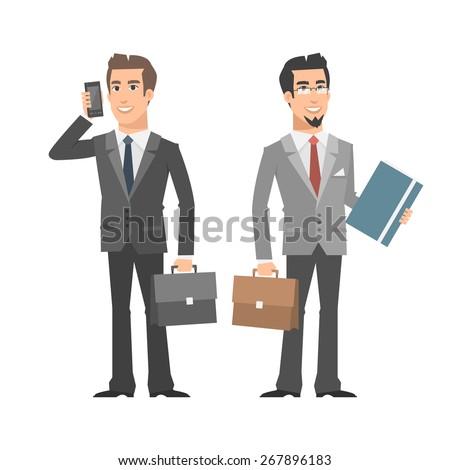 Businessman talking on phone holding folder briefcase - stock vector
