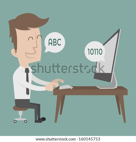 Businessman talking to a computer , eps10 vector format - stock vector