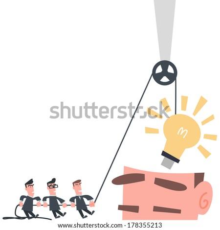 Businessman Team Installing Idea into The Brain - stock vector