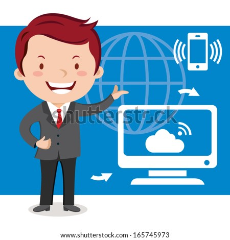 Businessman, technology connectivity concept. Vector illustration of Businessman working in the computer technology. - stock vector