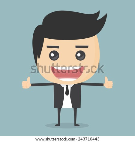 Businessman thumbs up. - stock vector