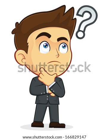 Businessman Touching Chin with Question Mark - stock vector