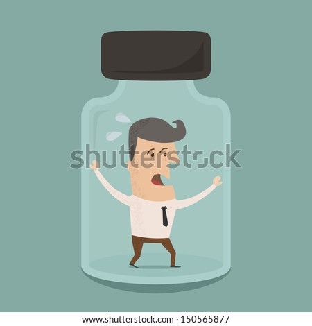 Businessman trapped in a glass jar  ,Vector EPS 10 - stock vector