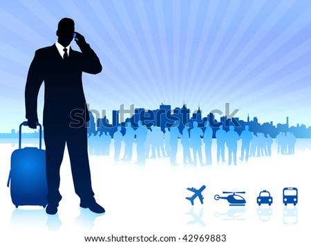 businessman traveler with city skyline Original Vector Illustration - stock vector