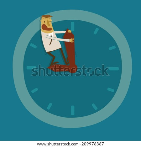 Businessman try to back time - stock vector