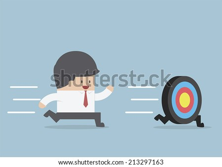 Businessman try to catch the target, VECTOR, EPS10 - stock vector