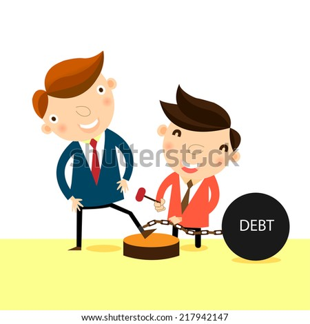 Businessman try to help his friend for freedom from the heavy debt,vector,illustration. - stock vector