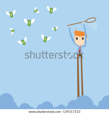 Businessman trying to catch money - stock vector