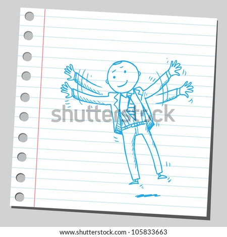 Businessman trying to fly - stock vector