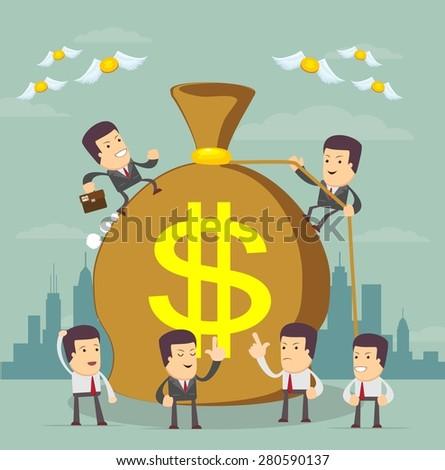 Businessman trying to make money.Stock Vector illustration. - stock vector
