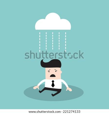 Businessman under brainstorming concept. Depressed business man walking down the rain. Vector illustration - stock vector