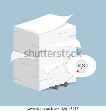 Businessman under the stack of paper, VECTOR, EPS10 - stock vector