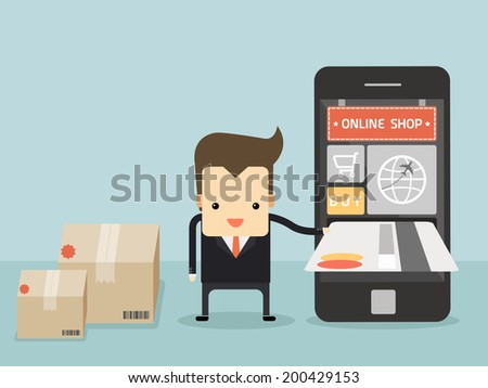 businessman use credit card for buy item from online shop vector - stock vector