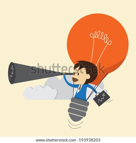 Businessman use idea looking the future - stock vector