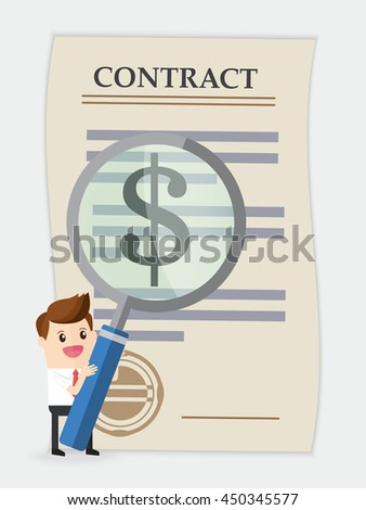 businessman using huge magnifying glass analyze contract with dollar sign - stock vector