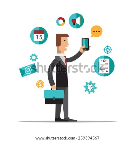 Businessman using mobile phone for business process organization, lifestyle routine and internet browsing. Isolated on white background. Flat design style modern vector illustration concept - stock vector
