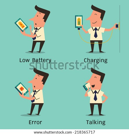 Businessman using smartphone in variety character, stunned with low battery, charging, confused with error, and talking on smart phone. Simple design. - stock vector