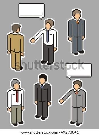 Businessman. Vector pixel art style illustration. - stock vector