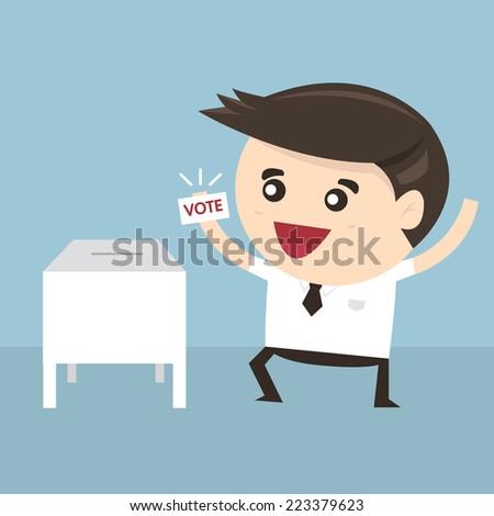 Businessman vote at ballot box, Vector illustration, flat design - stock vector