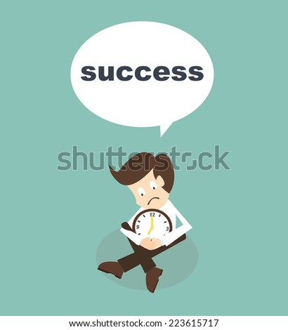 businessman waits time for success - stock vector